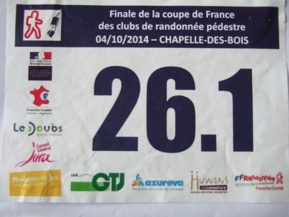 Le numéro de maillot  de  notre  équipe  :  26  .   Coupe de  France de Rando Challenge 2014