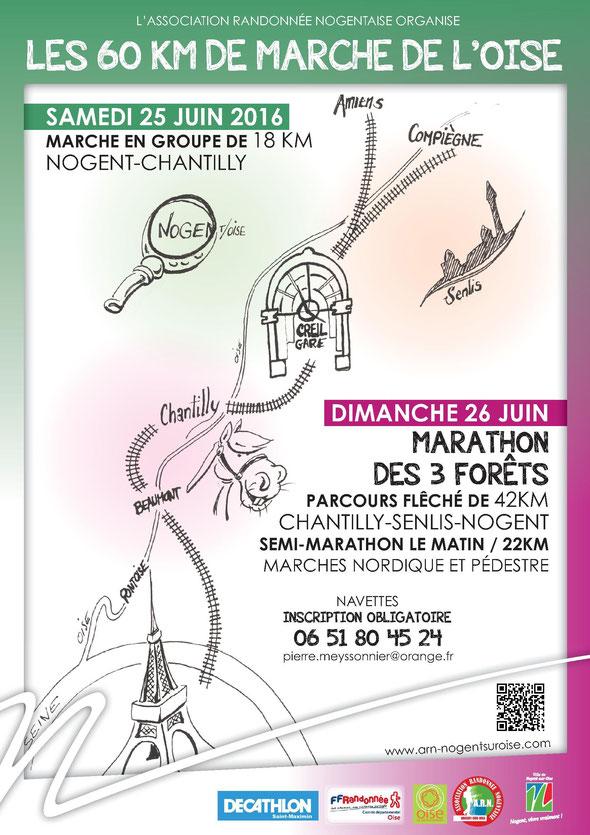 Marathon   - Marche d 'endurance  -  Marche  sportive  - Marche Nordique  - 60 km Oise