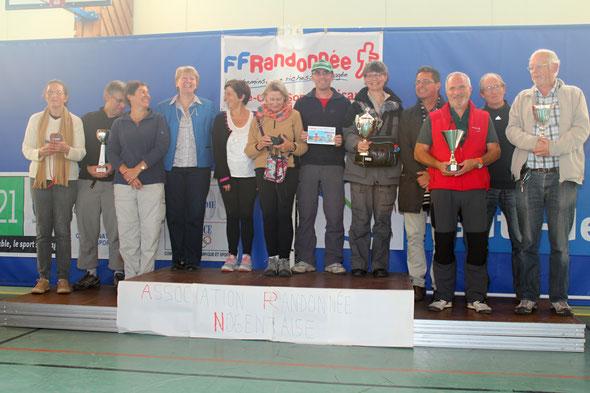 Les vainqueurs sur le  podium  avec  Mme gillain ROUX   conseiller départemental et  Mr  Didier CARON  adjoinrt au maire de Nogent sur  Oise .