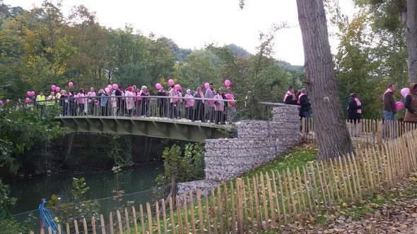Octobre  Rose  2015 -  13 oct - Accompagnement  de la randonnée avec  URCC  - Plus de  150 personnes . Contre le cancer du Sein.