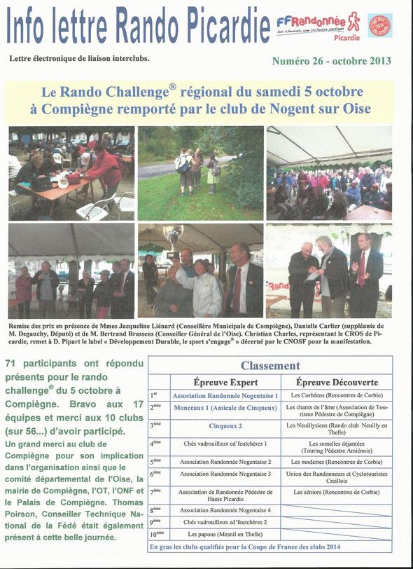 lettre RANDO  PICARDIE sur la Rando Challenge