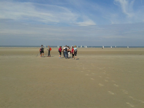 sur la  plage de Fort-Mahon  2015 .  Une grande étendue de sable ferme et un temps super .