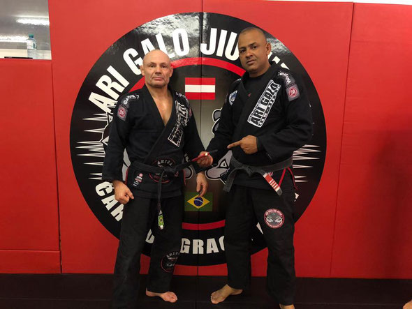 Roland Laritz (links) Cheftrainer The MMA Center, Ari Galo Black Belt Carlson Gracie Headcoach
