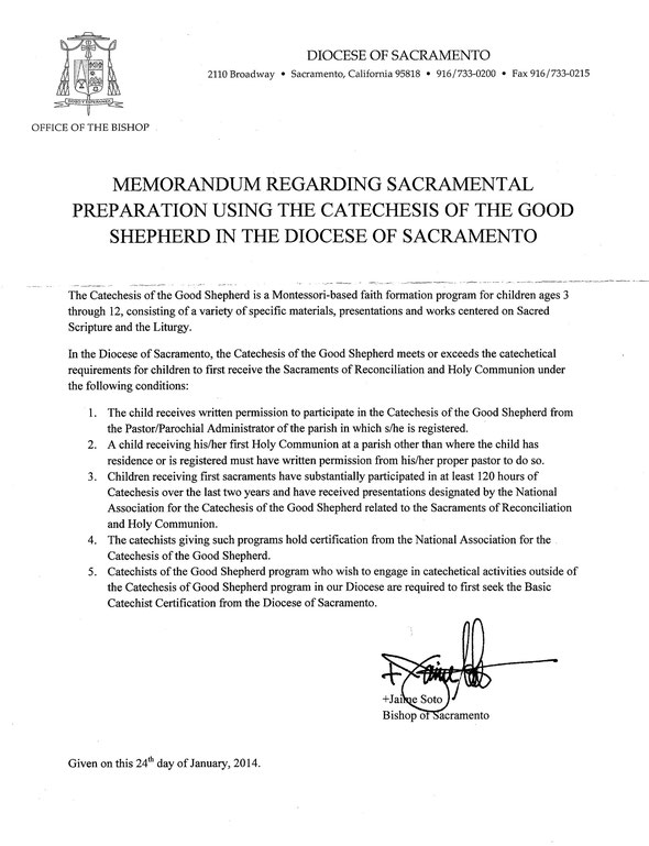 Catholic Bishop Diocese of Sacramento Montessori Catechesis of the Good Shepherd is best