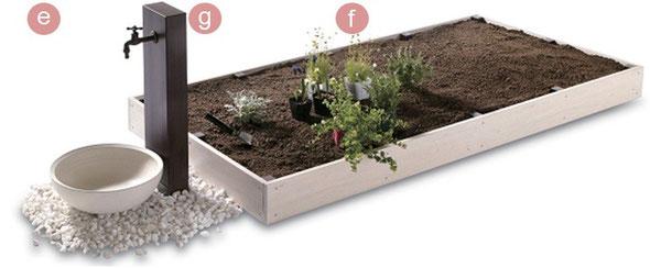見た目にも、使い勝手にも優れた花壇をセッティングしたいと考え、採用したのは、スチール素材にもかかわらず木材のような美しい見切り材。軽量土壌を使用しますが、大量の土を支えることを考慮し、見切り材の厚みにもこだわっています。