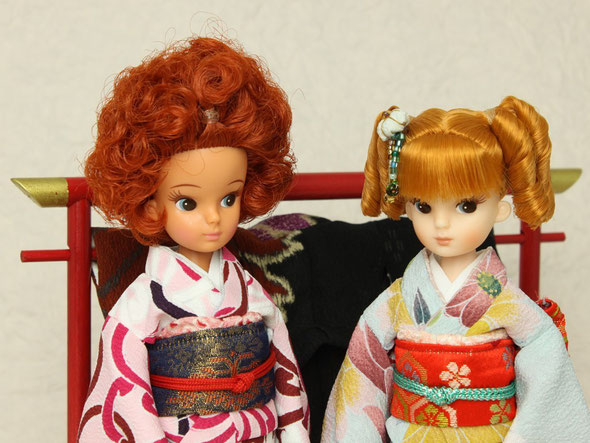 復刻版 初代リカちゃん着物、人形用衣桁、ドール衣桁