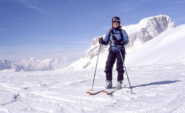 Ein traumhaftes Touren-/Freeridegebiet! Der Trogkofel/Creta di Aips (2280 m) im Hintergrund.