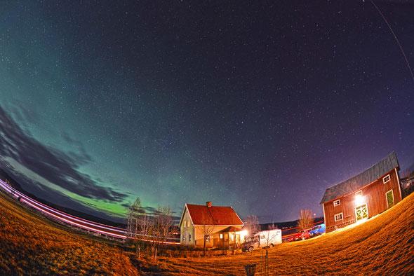 Die letzten Polarlichter des Urlaubs am Himmel über Örnsköldsvik.
