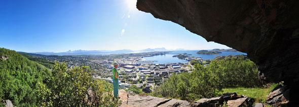 """Vom Gebiet """"Elektroeggen"""" bietet sich ein toller Ausblick über Bodø!"""