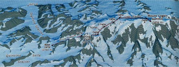 """Der Weg auf diesen Eisklotz führt die drei über die """"King Trench Route"""".   Karte: © ww.francoislanglois.com"""