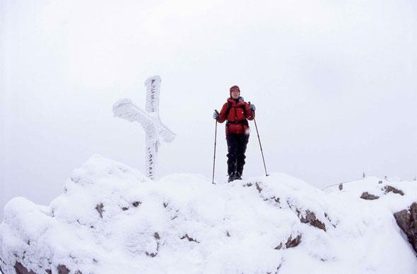Großer Osser, Gipfel, 1293 m, Silke, Winter Skitour, Bayerischer Wald