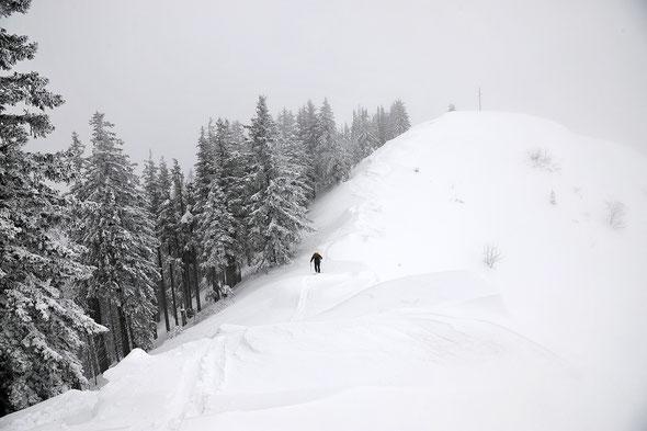 Nur bei schlechtem Wetter eine einsame Unternehmung - eine Skitour auf's Wertacher Hörnle.