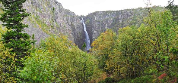 Schwedens höchster Wasserfall - das Njupeskär im Fulufjäll-Nationalpark.