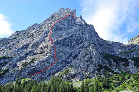 Kellespitze, Linie 95, Nordwand, Tannheimer, Raintal