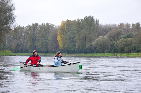 Kanu, Isar, Kanutour, Isar-Delta, Herbststimmung