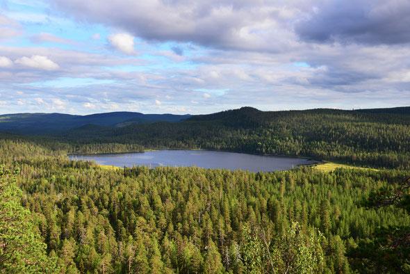 Tiefblick auf den Angsjön vom Björnberget aus.