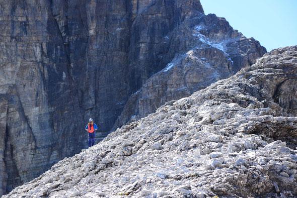 Dank der mäßigen Felsqualität ein eher spannender Ausflug: der Pflerscher Tribulaun!