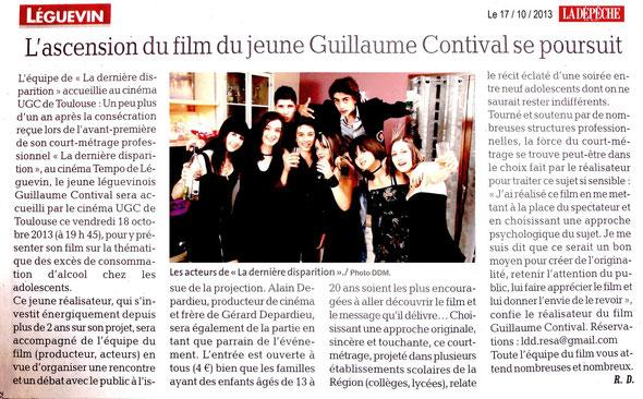 """Article paru dans le quotidien """"La Dépêche du Midi"""" le jeudi 17 octobre 2013"""