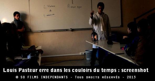 Louis Pasteur présente à des élèves différents moyens de pour s'éclairer au XIXe siècle...