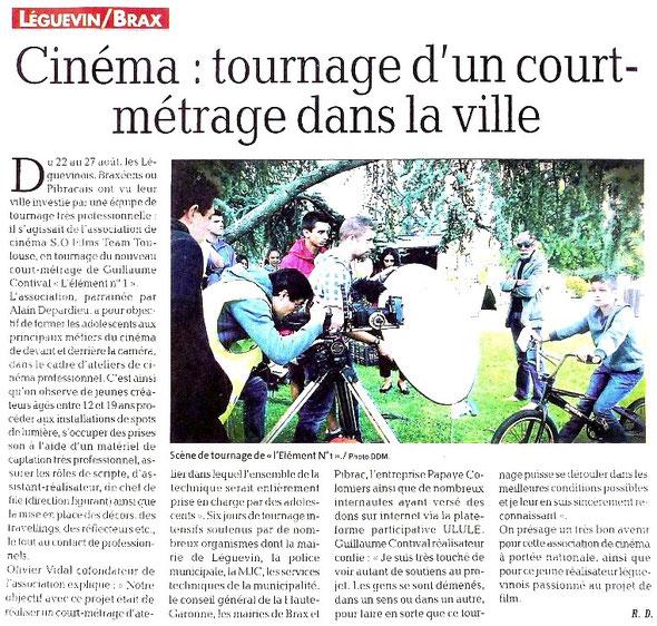 La dépêche du Midi, le 04/09/14