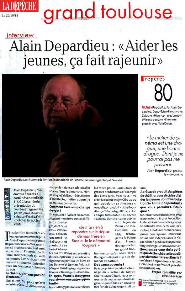 """Article paru dans le quotidien """"La Dépêche du Midi"""", le 20/10/13"""