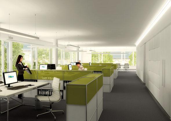 Moderne, lichtdurchflutete Räume für  Laptop-Arbeiter|Bildnachweis: wph Hamburg