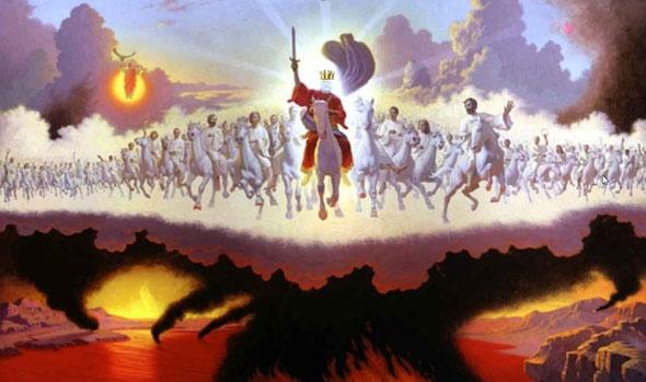 Peu de temps après la guerre céleste entre Michel et Satan, aura lieu une autre guerre qui concernera la terre entière, au moment du Retour du Christ. Les armées célestes composées de myriades d'anges accompagneront Jésus-Christ.