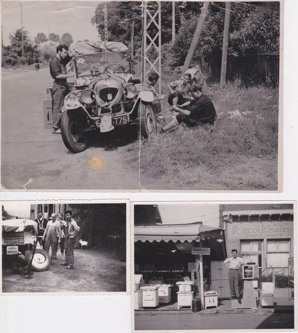 En vacabces en 1951 ; Réparation des roues (23 crevaisons en 12 jours!) ; À Noisy, en 1953, démonstrateur en glacières.