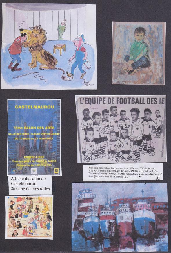 Equipe de foot avec les dessinateurs Fortuné, Cavanna, Sempé, Stov, Sim, Rous, Lassalvy, Fred et Rol.