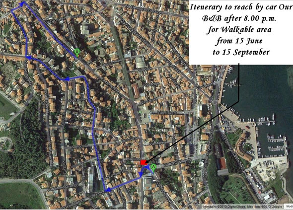 Itinerary to reach B&B Belvedere from 15th of June to 15th of September after 08.00 p.m.