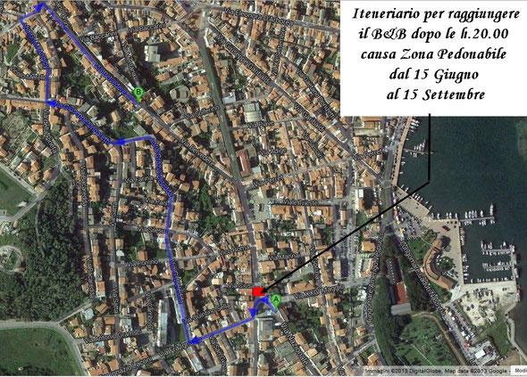 Itinerario per raggiungere il B&B Belvedere dal 15 Giugno al 15 Settembre dopo le h. 20