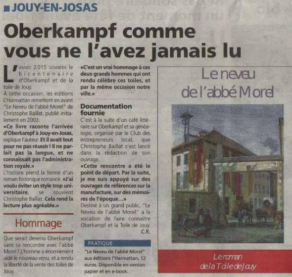 Article paru dans Toutes Les Nouvelles de Versailles, le 31/12/2014, signé Camille Redoules