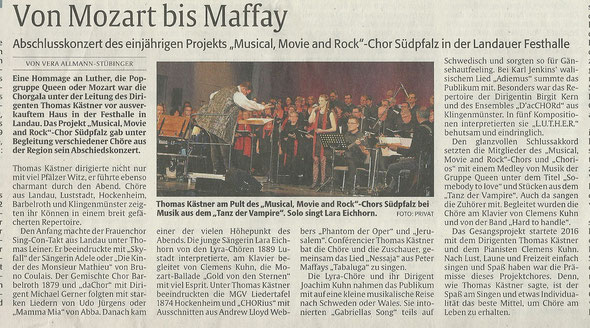 Chorgala 2017 Lyra-Chöre Lustadt Lara Eichhorn Musical Movie and Rock Chor Südpfalz