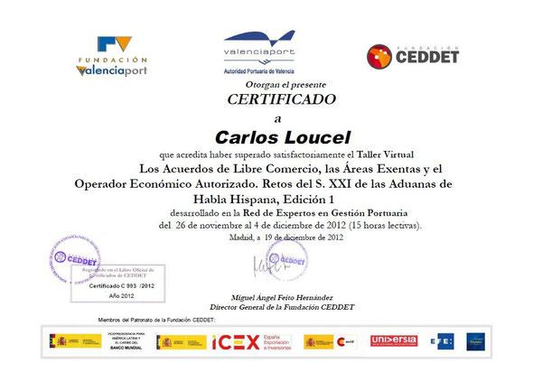 Fundacion VAlenciaport, Valenciaport y Fundacion CEDDET - Certificado Taller Virtual