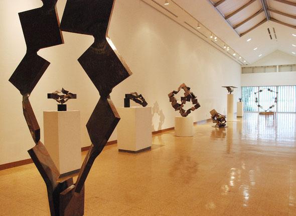 会場に入って正面にはシリーズ Metamorphosis 作品を展示。多々良木ダムからの外光が作品を包み込んでいます。