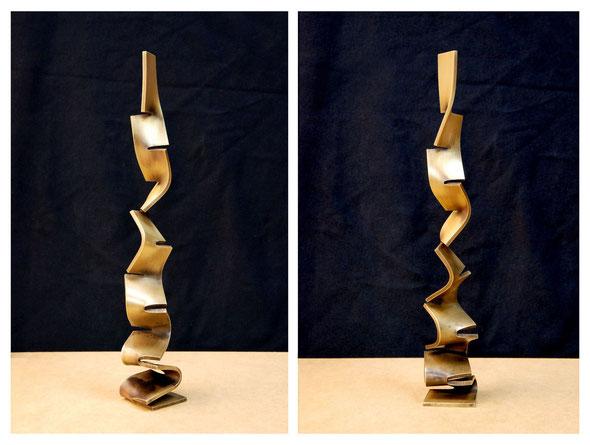 「 - 空へ - (S-1)」 真鍮 / H.26xW.4xD.4cm