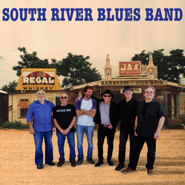 South River Blues Band devant le Cross Roads Store, Bar, Juke joint & Gas station,  à Melrose. Louisiana.  Montage image J.L.G . Septembre 2016
