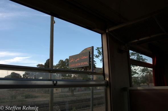 .... ab BENI OUKIL geht es unter einer anderen Zugnummer auf der Hauptstrecke von FES weiter nach OUJDA