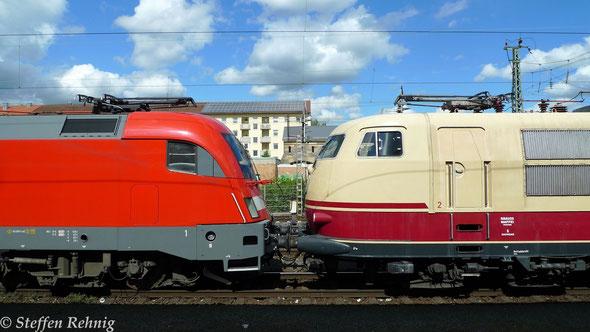 182 506-6 Nachfolger der 103 222-6 von DB-Systemtechnik mit Messzug in Bamberg (12.5. 2014)