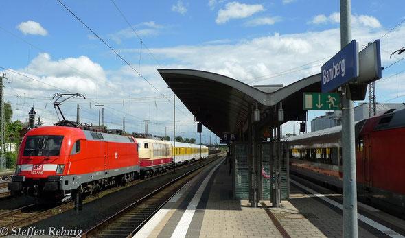 182 506-6 mit 103 222-6 von DB-Systemtechnik mit Messzug in Bamberg (12.5. 2014)