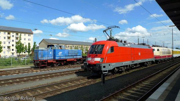 V 65-12 SVG ex. Tegernseebahn TAG und 182 506-6 mit 103 222-6 von DB-Systemtechnik mit Messzug in Bamberg (12.5. 2014)