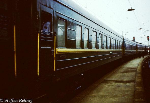 Militärzug D 1192 Brest - Erfurt / Военный поезд Брест - Эрфурт nach der Ankunft in Erfurt (1981)