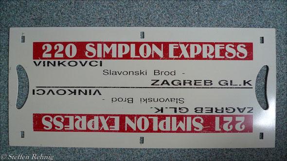 """HŽ - B  220/221 """"SIMPLON EXPRESS"""" Zagreb Gl.Kol. - Ljubljana - Trieste Centrale - Milano Lambrate - Geneve Aeroport (1994)"""