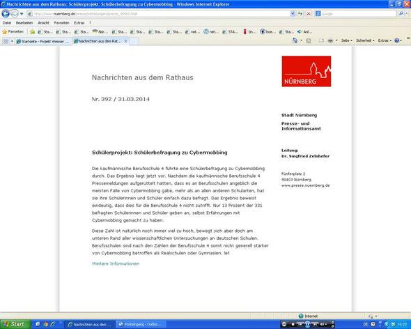 Presseerklärung der Stadt Nürnberg (Screenshot vom 29.03.2014)
