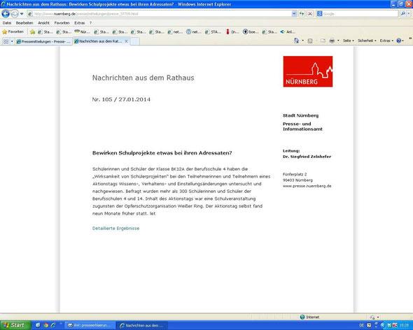 Presseerklärung der Stadt Nürnberg (Screenshot vom 27.01.2014)