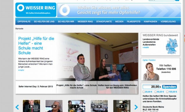 """Foto von unserem Projekt im Rahmen einer """"Diashow"""" auf der Startseite (Screenshot vom 04.02.2013)"""