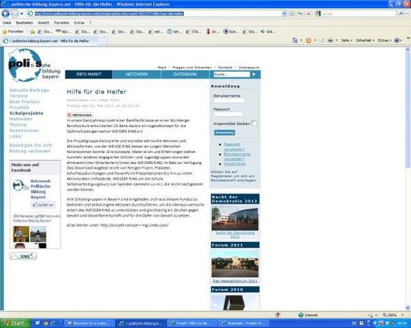 Internetplattform Netzwerk Politische Bildung Bayern, Rubrik Schulprojekte (Screenshot vom 13.05.2013)