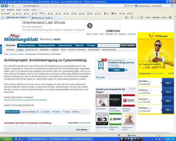 Info auf einer Nachrichtenplattform (Screenshot vom 29.03.2014)