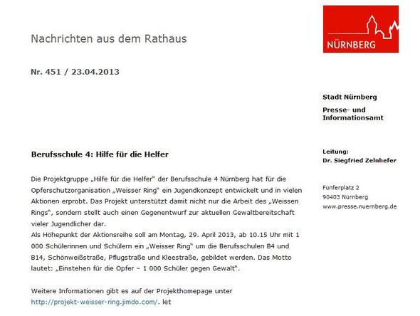 Ankündigung unseres Mega-Events durch das Presseamt der Stadt Nürnberg (Screenshot vom 23.04.2013)