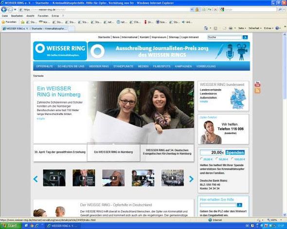 Hinweis auf unserer Projekt in einer Diashow auf der Homepage des WEISSEN RING (Screenshot vom 30.04.2013)